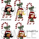 Christmas Cane Girls 1-Emailed as JPEG File-Commercial and Personal Use