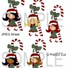 Christmas Cane Girls 2-Emailed as JPEG File-Commercial and Personal Use