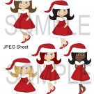 Christmas Cute Girls 1-Emailed as JPEG File-Commercial and Personal Use