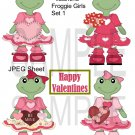 Valentine Froggie Girls 1-Emailed as JPEG File-Commercial and Personal Use