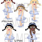 Dress Up Girls Blue 1-Emailed as JPEG File-Commercial and Personal Use