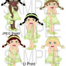 Dress Up Girls Green 1-Emailed as JPEG File-Commercial and Personal Use