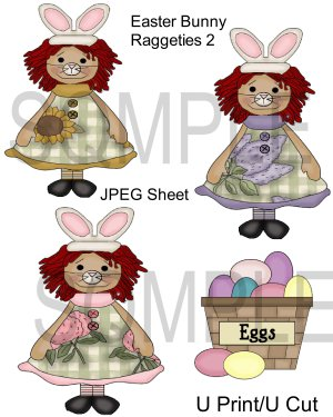 Easter Bunny Raggeties 2-Emailed as JPEG File-Commercial and Personal Use