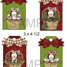 Penguin Girl Baskets 1-Hang Tags-Emailed as JPEG File-Commercial and Personal Use