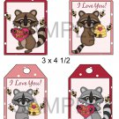 Racoon Valentine 1-Hang Tags-Emailed as JPEG File-Commercial and Personal Use