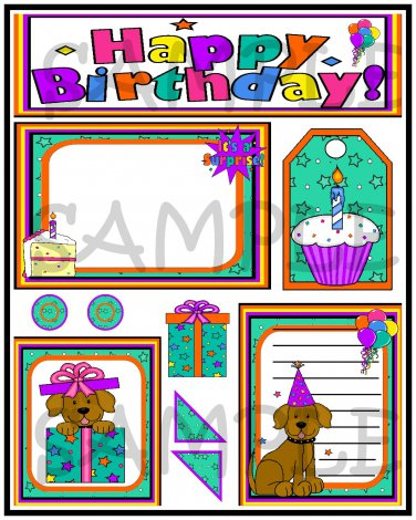 Happy Birthday 2/Puppy - Emailed as JPEG File-Commercial and Personal Use