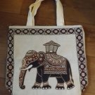HAND CRAFTED CREAM ELEPHANT CANVASS SHOPPING BAG QUALITY PRODUCT FROM THAILAND