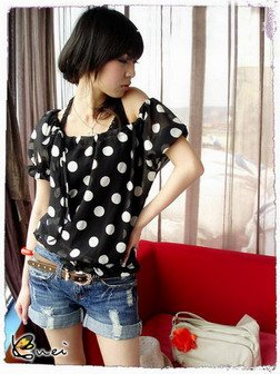 White Dotted Blouse (Black)