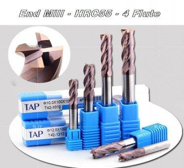 End Mill Tool Set 4 Flute Carbide Endmill CNC Parts - 11pcs TAPC Milling 1-6mm