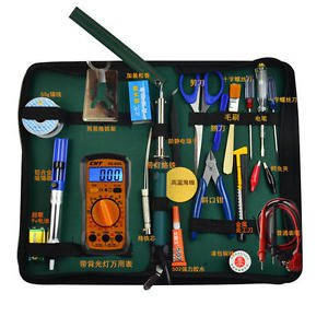 Electronic Engineer Test Bag Tools Pack 24pcs Multimeter Solder Iron Combo Pack
