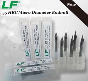 2pcs 0.2mm Diameter HRC55 CNC Mirco Grain Carbide Endmill 2-Flute End Mills