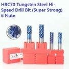 HRC70 Drill Bit Tool Set 6-Flute Tungsten Steel Super Strong 6-8mm (4pcs)