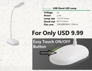 LED Table Desk Lamp 2.5W USB Power Light Bright LED Study Reading Lamp Stand