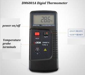 Temperature Measurement Meter DM6801 Type K Thermo Probe -200 to 1370 DegreeC
