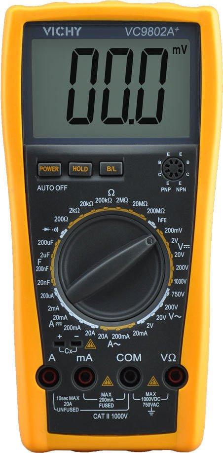 Digital Multimeter DMM VICHY VC9802A+ Voltmeter Ohm Capacitance Current Meter
