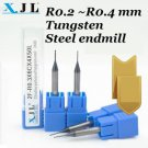CNC Endmill Micro-ball Round Mill R0.2mm Tungsten Steel Long Blade 2Flute x2pcs