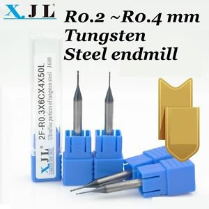 CNC Endmill Micro-ball Round Mill R0.2mm Tungsten Steel Long Blade 2Flute x2pcs