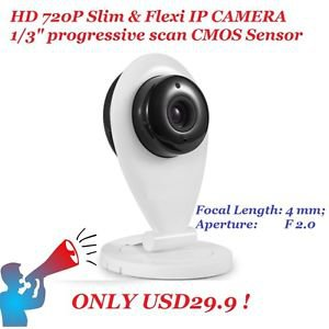 IP Camera IPCAM Wireless WiFi Webcam Home Security HD 720P 3.6mm Slim Design