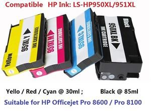 HP Pro8100 Pro8600 Compatible Printer Ink Set 950XL 951XL Black & 3 Colors 4Pack