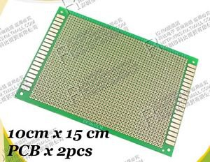 PCB board 10x15cm Single size 2.54mm Pitch 1mm Hole x 2pcs Electronic Kit Tool