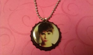 Justin Bieber Bottle Cap Necklace NEW HAIRCUT