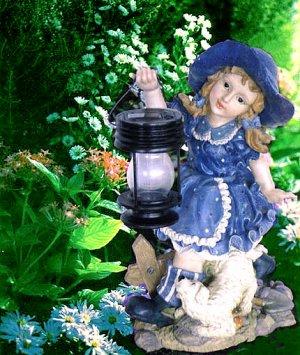 Larqe Girl Carry Lantern Solar Light