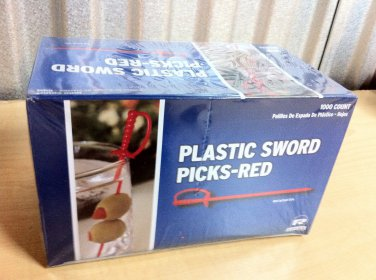 1000 Count Red Royal Plastic Sword Picks Toothpicks