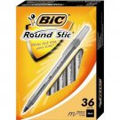 BIC Round Stic Ball Pen, Medium Point (1.0mm), Black, 36 Pens