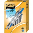BIC Round Stic Grip Ballpoint Pens, Medium Point, Black & Blue Ink, 36/Pack