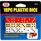 18 Piece Plastic Dice Set - 3 Colors