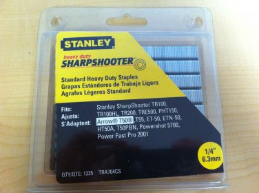 """Stanley 1/4"""" Heavy Duty Sharpshooter Staples TRA704CS - 1325 Count Pack"""