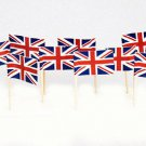 "100 Count Box 2.5"" British Flag Mini Toothpicks Picks"