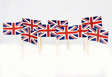 "100 Count Box 2.5"" British Flag Mini Toothpicks Picks"