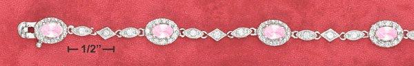 4X6 MM OVAL PINK CZ BRACELET ( BR-2632)