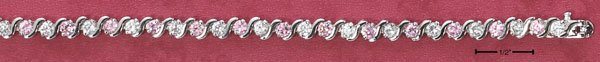 PINK AND CLEAR CZS BRACELET (BR-2503)