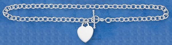 """ENGRAVABLE HEART TOGGLE NECKLACE NK-586 17"""""""