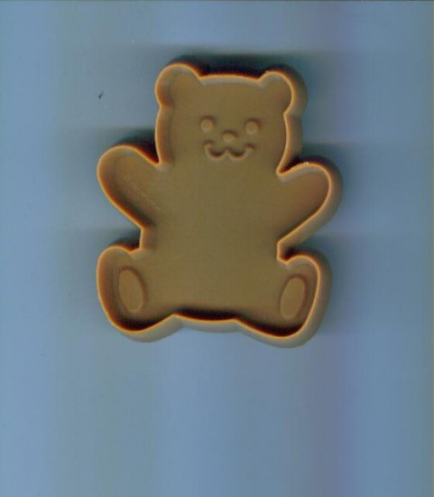 Old Vintage Plastic Hallmark Cookie Cutter Cutters Small Tan Teddy Bear with Handle locupst