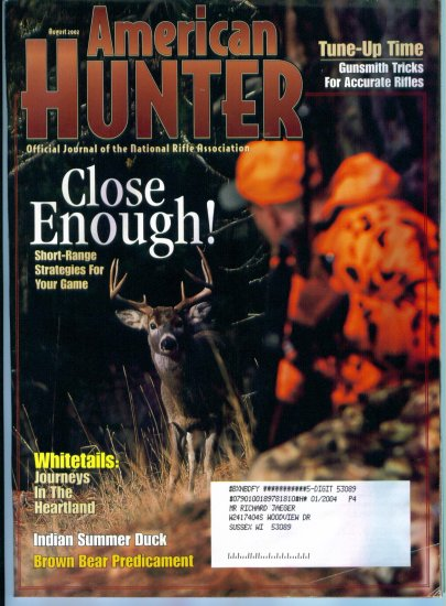 American Hunter August 2002 Gently Read Copy Back Issue