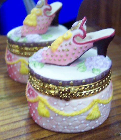 Sweet Porcelain Shoe Topped Trinket Box
