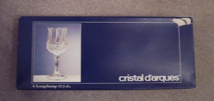 Cristal D'arques 17.5 CL Longchamp Crystal Wine Glasses Stemware Set of 6 In Original Box