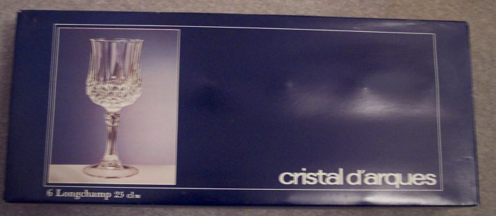 Cristal D'arques 25 CL Longchamp Crystal Wine Glasses Stemware Set of 6 In Original Box 101