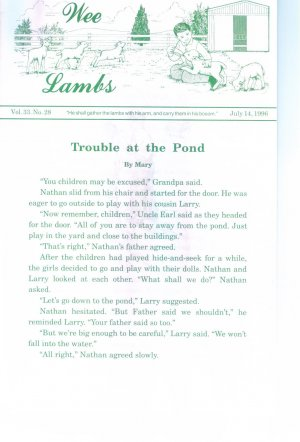 Wee Lambs Volume 33 No. 28 July 14 1996 ~ Rod and Staff Publishers ~ Back Issue Leaflet