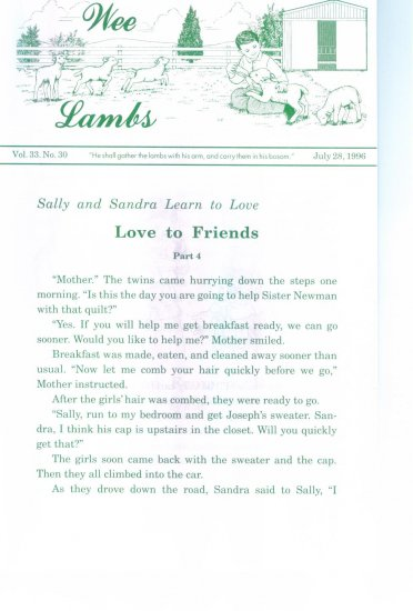 Wee Lambs Volume 33 No. 30 July 28 1996 ~ Rod and Staff Publishers ~ Back Issue Leaflet
