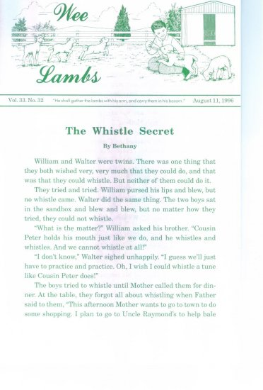 Wee Lambs Volume 33 No. 32 August 11 1996 ~ Rod and Staff Publishers ~ Back Issue Leaflet
