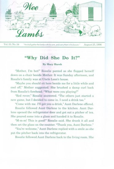 WEE LAMBS Volume 33 No. 34 August 25 1996 ~ Rod and Staff Publishers ~ Back Issue Leaflet