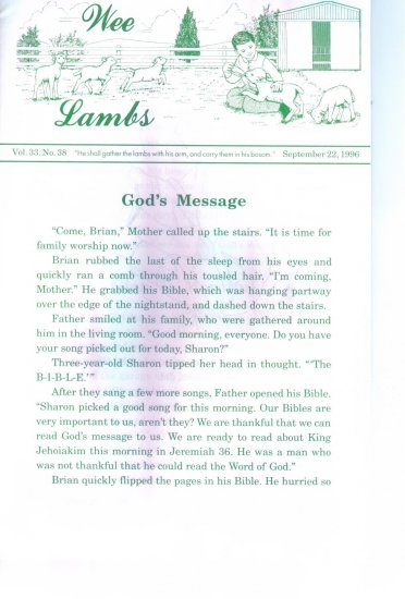 WEE LAMBS Volume 33 No. 38 September 22 1996 ~ Rod and Staff Publishers ~ Back Issue Leaflet