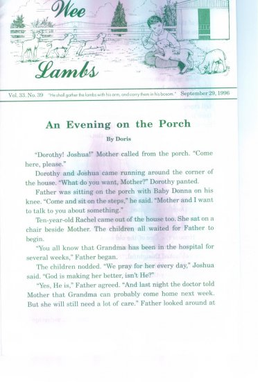 Wee Lambs Volume 33 No. 39 September 29 1996 ~ Rod and Staff Publishers ~ Back Issue Leaflet