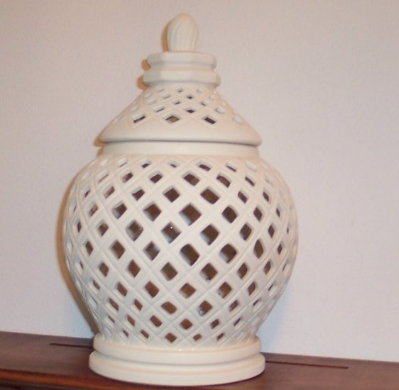 Bisque Lacy Open Work Jar with Lid Lantern ~ Pottery ~ Ceramic ~ Glazed inside ~ Collectible