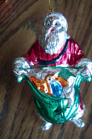 Vintage Silver SANTA Painted Plastic Ornament Old Ornaments Red Coat with Green Toy Bag 1M
