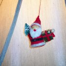 Vintage Felt Wooden Spool Bead Santa Ornament Old Ornaments